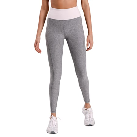 Luxe Eclipse 7/8 Women's Tights, Med Gray Heather-Rosewater, small-IND