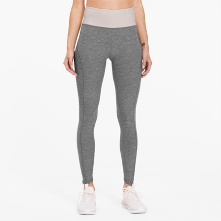 Luxe Eclipse Women's 7/8 Training Tights, Med Gray Heather-Rosewater, small-SEA