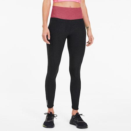 Luxe Eclipse Women's 7/8 Training Tights, Black Htr-Bubblegum Htr, small