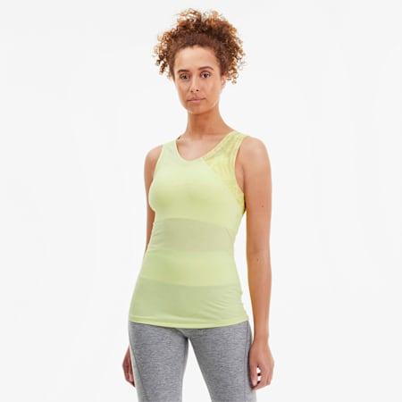 Camiseta sin mangas de malla estampada Studio para mujer, Sunny Lime, pequeño