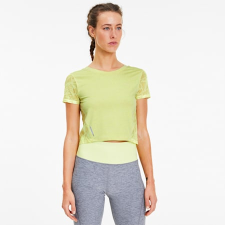 Studio Graphic Mesh Women's Training Tee, Sunny Lime Heather, small