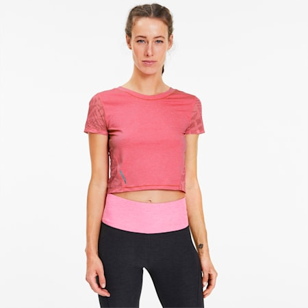 Studio Graphic Mesh Women's Training Tee, Bubblegum Heather, small