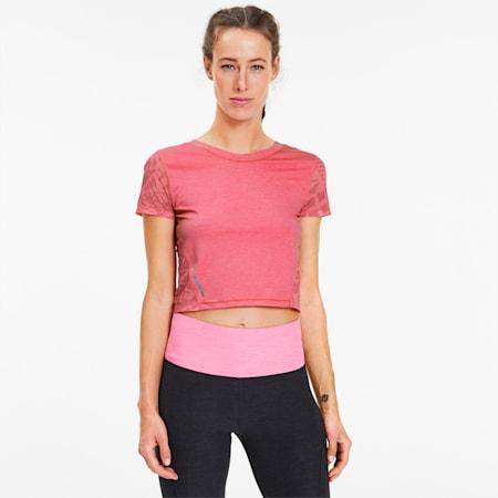 Camiseta de malla estampada Studio para mujer, Bubblegum Heather, pequeño