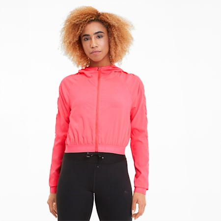 Be Bold Woven Women's Training Jacket, Ignite Pink, small