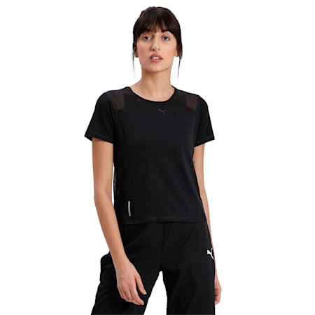 Be Bold Mesh Women's T-Shirt, Puma Black, small-IND
