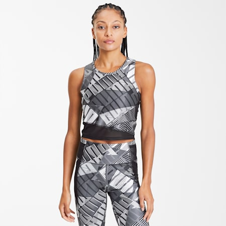 Be Bold Women's Training Crop Top, Puma Black-Puma White-Q1 Prt, small