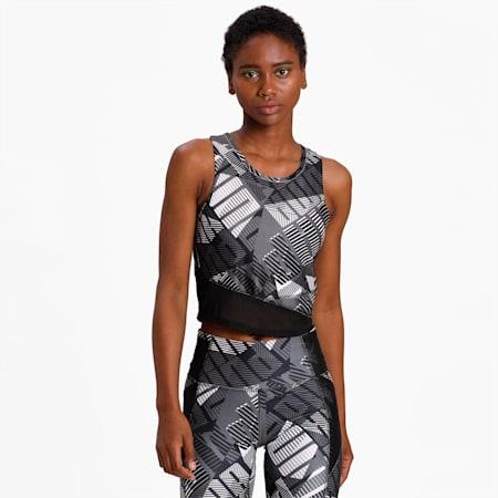 Be Bold AOP Women's Crop Top, Puma Black-Puma White-Q1 Prt, small-IND