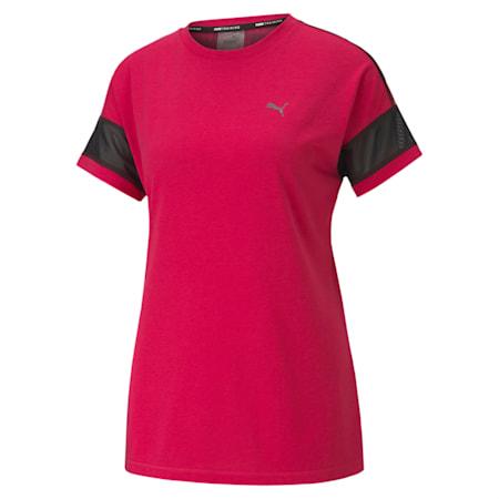 Feel It Women's Mesh Logo T-Shirt, BRIGHT ROSE-Puma Black, small-IND