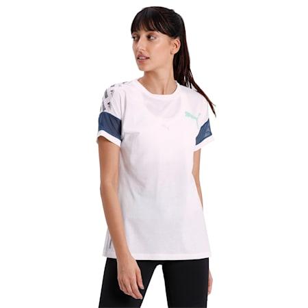 Feel It Women's Mesh Logo T-Shirt, Puma White-Dark Denim, small-IND