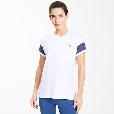 Feel It Mesh Logo Women's Training Tee, Puma White-Dark Denim, small-SEA