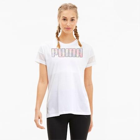 Feel It Women's Mesh Logo Tee, Puma White-Q2 Prt, small