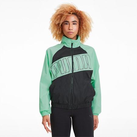 Feel It Woven Windbreaker Women's Training Jacket, Puma Black-Green Glimmer, small-IND