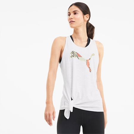 Logo Tie Women's Tank Top, Puma White-Q2 Cat, small