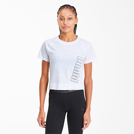 Logo Elastic Women's Training Tee, Puma White, small