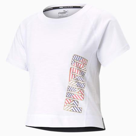 Logo Elastic Women's Training Tee, Puma White-Q2 PUMA, small
