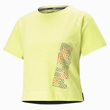 Logo Elastic Women's Training Tee, Sunny Lime-Q2 PUMA, small