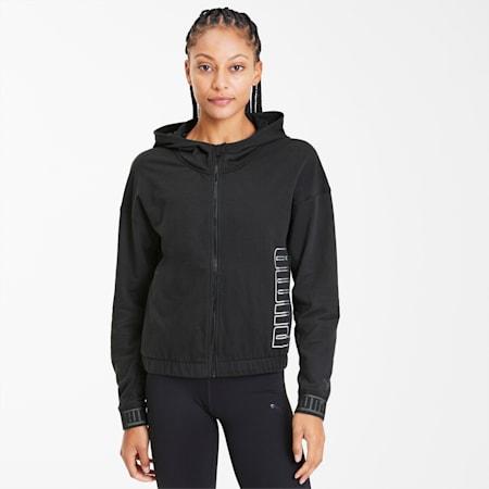 Logo Women's Full Zip Hoodie, Puma Black, small