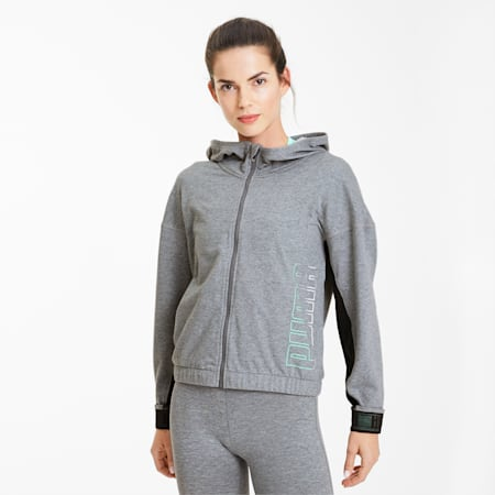 Logo Women's Full Zip Hoodie, Medium Gray Heather, small