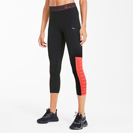 Logo Elastic Women's 3/4 Leggings, Puma Black-Ignite Pink, small