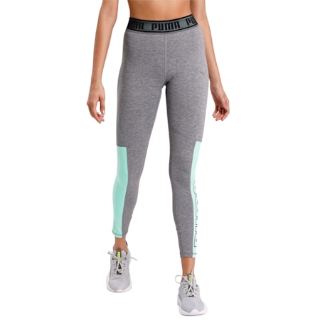 Logo Elastic Women's 7/8 Tight, Med Gray Hther-Green Glimmer, small-IND