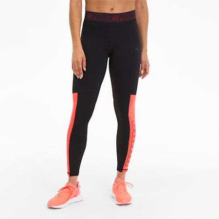 Logo Elastic Women's 7/8 Leggings, Puma Black-Ignite Pink, small
