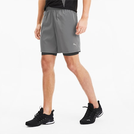 Last Lap 2-in-1 Herren Running Shorts, CASTLEROCK-Puma Black, small