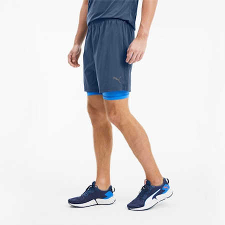 "Last Lap 2-in-1 7"" Men's Running Shorts, Dark Denim-Palace Blue, small"