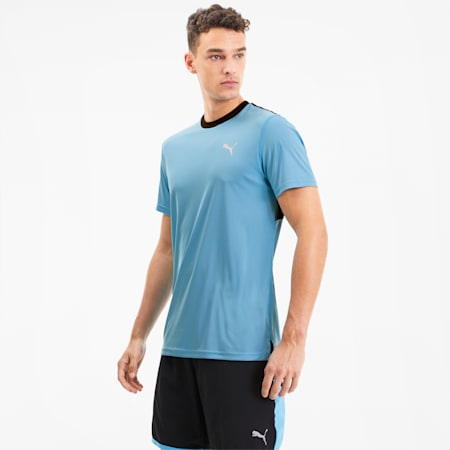 Last Lap Colour-blocked Men's Training Tee, Ethereal Blue-Puma Black, small-SEA