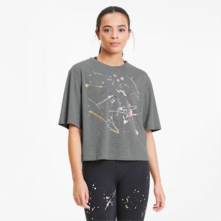 Damska koszulka treningowa Metal Splash Graphic, Medium Gray Heather, small