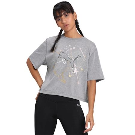 Metal Splash Graphic dryCELL Women's T-Shirt, Medium Gray Heather, small-IND