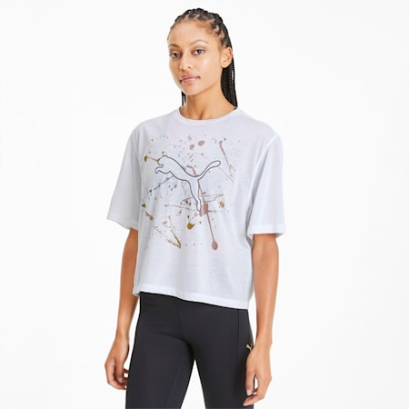 Metal Splash Graphic Damen Training T-Shirt, Puma White, small
