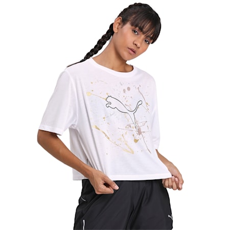 Metal Splash Graphic dryCELL Women's T-Shirt, Puma White, small-IND
