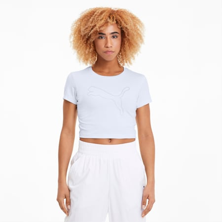 Feel It Women's Cropped Tee, Puma White-Outline Cat prt, small
