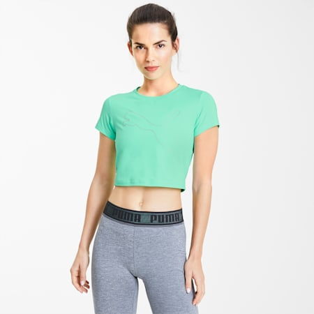 Feel It Women's Cropped Tee, GreenGlimmer-Outline Cat prt, small