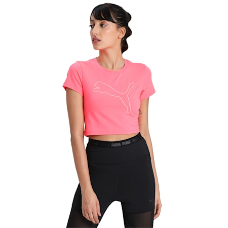 Feel It dryCELL Cropped T-Shirt, Ignite Pink-Outline Cat prt, small-IND