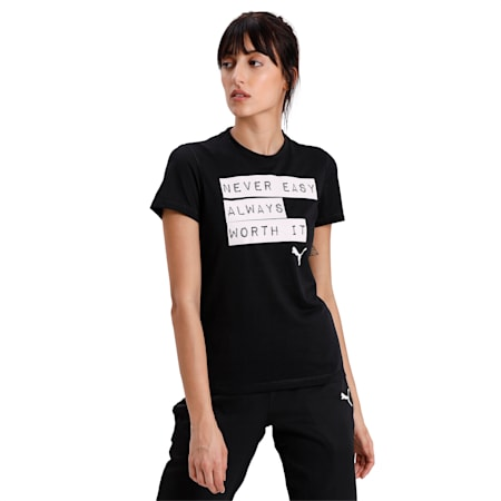 Slogan Crew Neck Women's T-Shirt, Puma Black-Prt A, small-IND