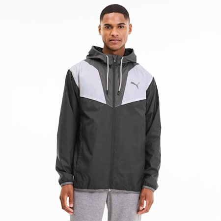 Reactive Woven Men's Training Jacket, Black-CASTLEROCK-White, small