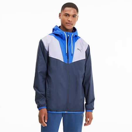 Reactive Woven Men's Training Jacket, Dark Denim-Palace Blue-White, small