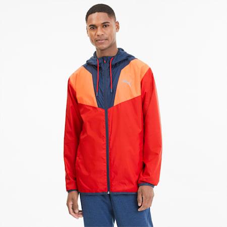 Reactive Men's Woven Training Jacket, High Risk -Lava Blst-Drk Dnm, small