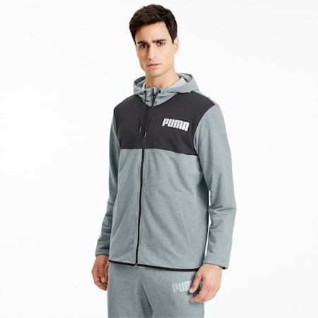 Collective Men's Warm Up Jacket, Medium Gray Heather- Black, small