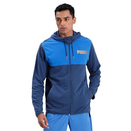 Collective Men's Warm Up Jacket, Dark Denim-Palace Blue, small-IND