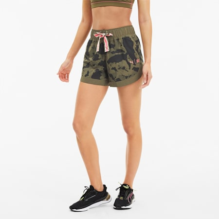 Shorts da running PUMA x FIRST donna in tessuto, Burnt Olive-Camo Prt, small