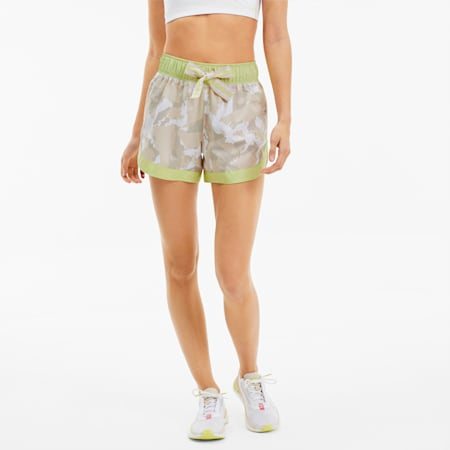 PUMA x FIRST MILE Damen Running Gewebte Shorts, Sunny Lime-Camo Prt, small