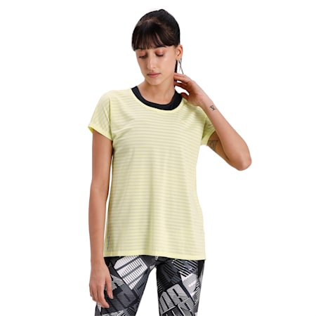 Be Bold Flatlock Stitching Women's Training T-Shirt, Sunny Lime, small-IND