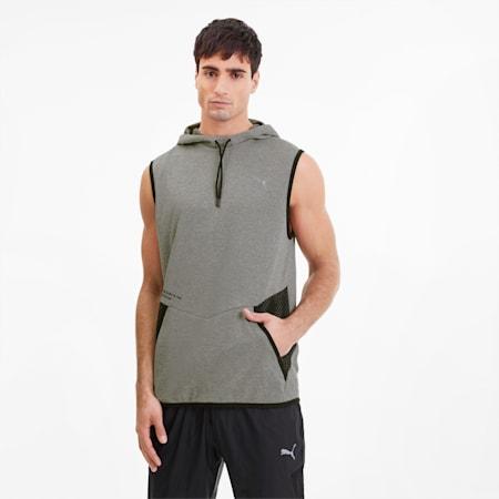 Reactive Men's Sleeveless Training Hoodie, Medium Gray Heather, small
