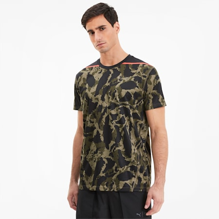 PUMA x FIRST MILE Camo Herren Training T-Shirt, Burnt Olive-camo print, small