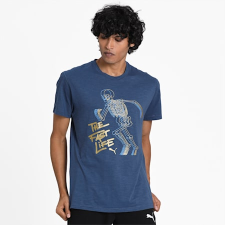 PUMA Graphic dryCELL Men's Training T-Shirt, Dark Denim, small-IND