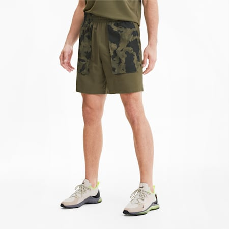 PUMA x FIRST MILE Men's Woven Running Shorts, Burnt Olive, small