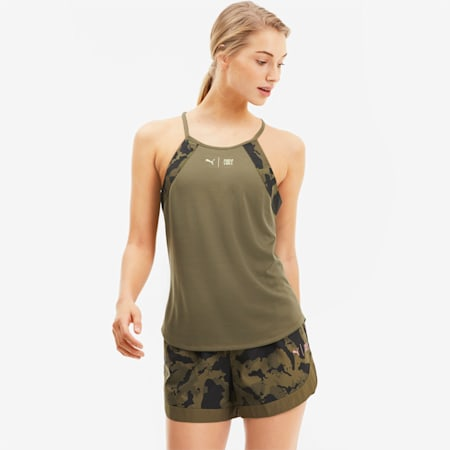 PUMA x FIRST MILE Damen Training Tank-Top, Burnt Olive-Camo Prt, small