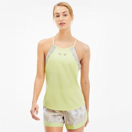 Camiseta de entrenamiento sin mangas PUMA x FIRST MILE para mujer, Sunny Lime-Camo Prt, pequeño